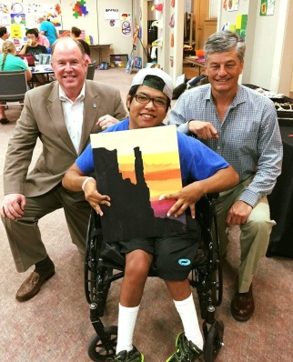 Art at the Arc student Johnathon with Waco City Manager & Mayor